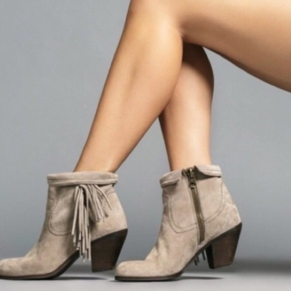 Louie Suede Fringe Ankle Boots
